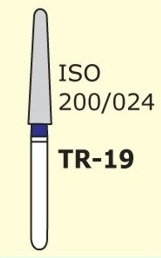 Алмазные боры для турбинного наконечника MANI TR-19 (синий  конусообразный, закругленный кончик)
