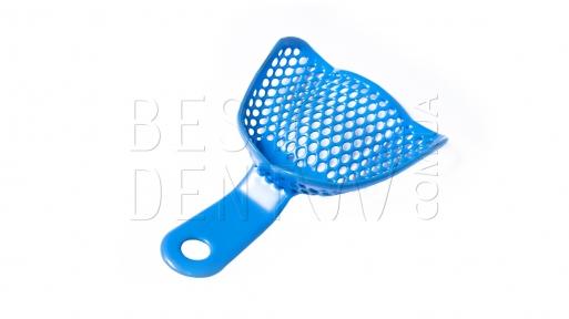 Ложка металлическая оттискная с полимерным покрытием (синяя) L верх