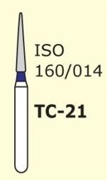 Алмазные боры для турбинного наконечника MANI TC-21 (синий конусообразный,  острый кончик)