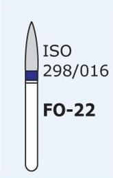 Алмазные боры для турбинного наконечника MANI FO-22 (синий  пламяобразный, стрельчатый кончик)