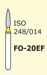 Алмазные боры для турбинного наконечника MANI FO-20EF (желтый  пламяобразный, стрельчатый кончик)