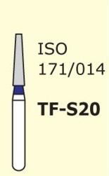 Алмазные боры для турбинного наконечника MANI TF-S20 (синий  конусообразный, плоский кончик)