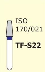 Алмазные боры для турбинного наконечника MANI TF-S22 (синий  конусообразный, плоский кончик)